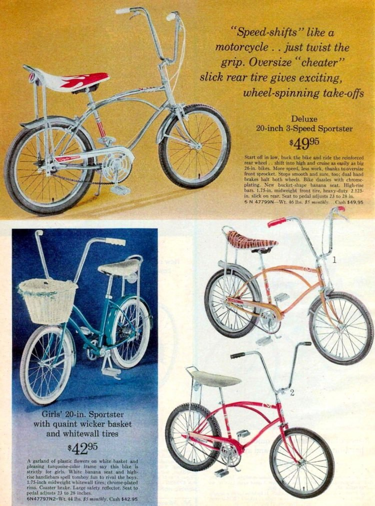 Vintage banana seat bicycles for kids from 1969