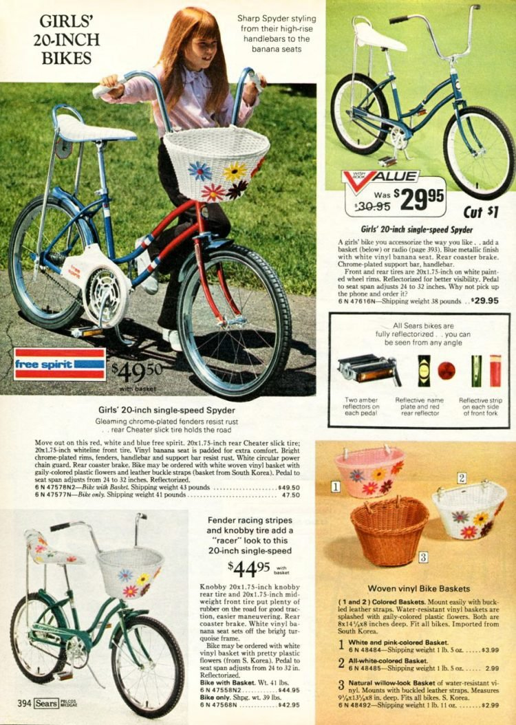 Vintage banana seat bikes with baskets for girls 1969-1970 Sears catalog