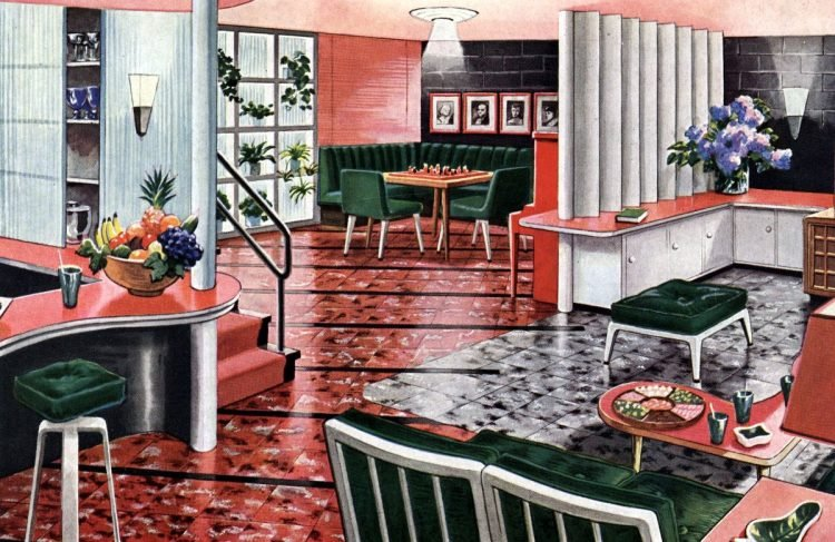 Vintage basement remodel ideas - a recreation room with a night club atmosphere
