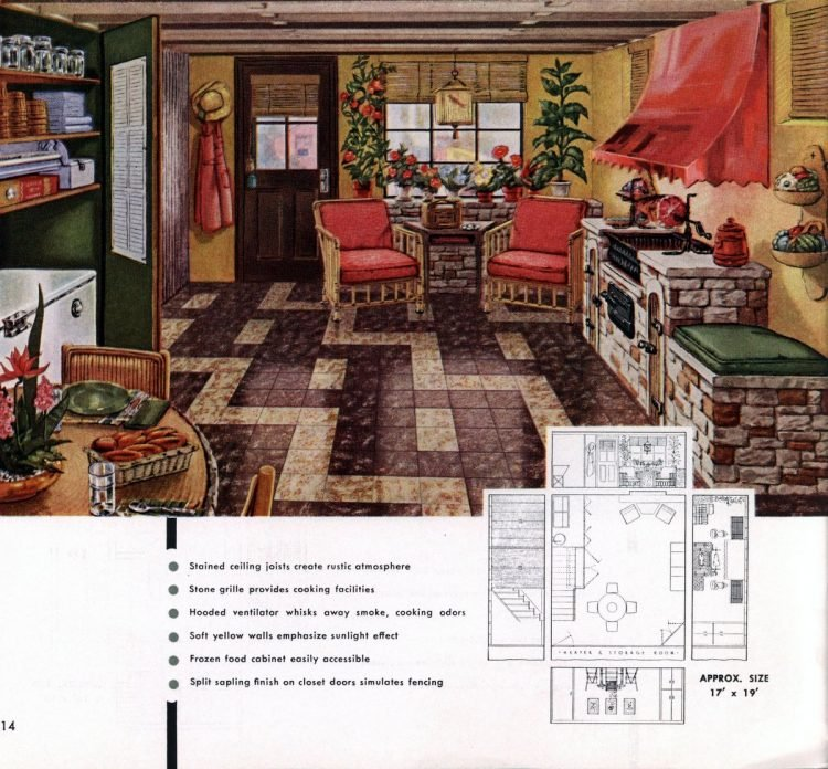 Vintage basement remodel interior decorating from 1950 (1)