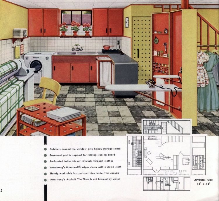 Vintage basement remodel interior decorating from 1950 (10)