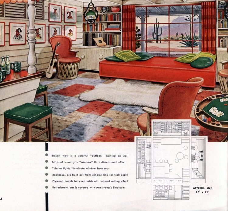 Vintage basement remodel interior decorating from 1950 (2)