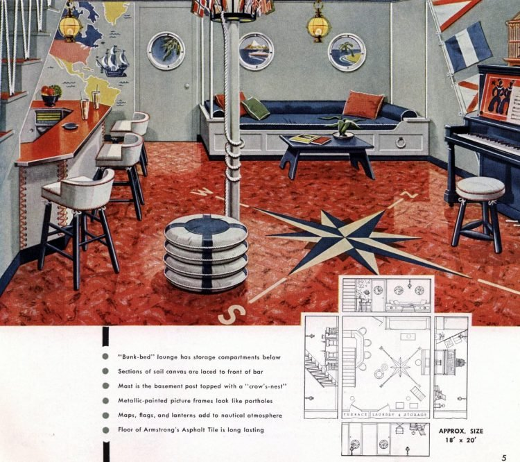 Vintage basement remodel interior decorating from 1950 (3)