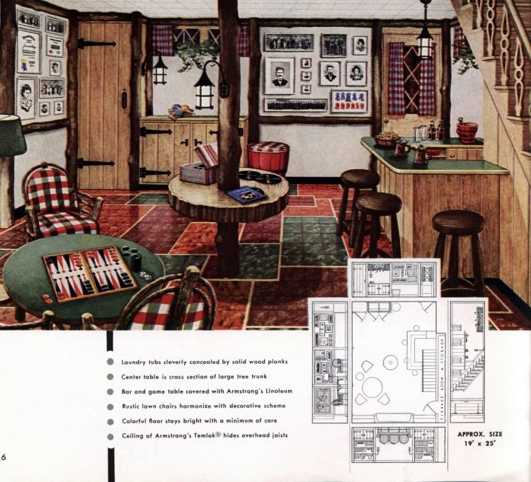 Vintage basement remodel interior decorating from 1950 (4)
