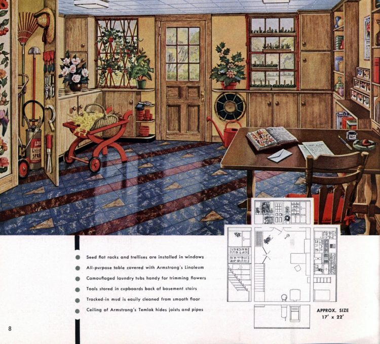 Vintage basement remodel interior decorating from 1950 (6)