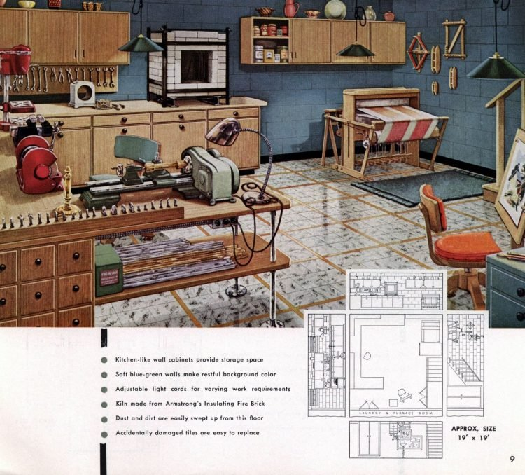 Vintage basement remodel interior decorating from 1950 (7)