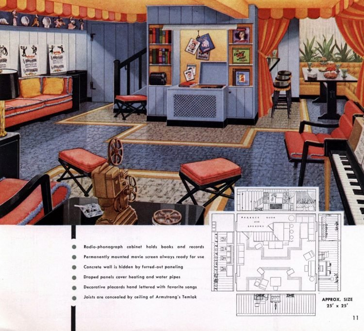 Vintage basement remodel interior decorating from 1950 (9)