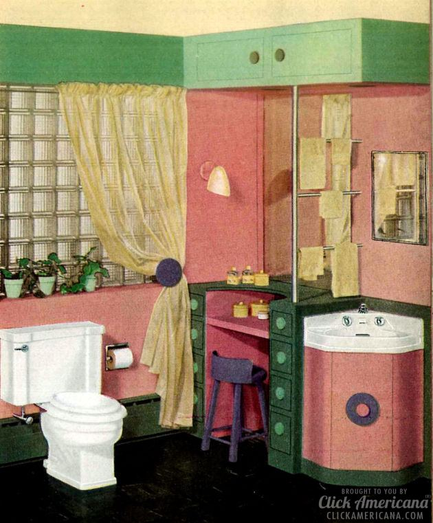 A retro restroom rainbow: Colorful modern bathrooms (1949)