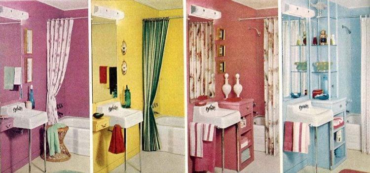 Vintage bathroom decor color schemes from 1961