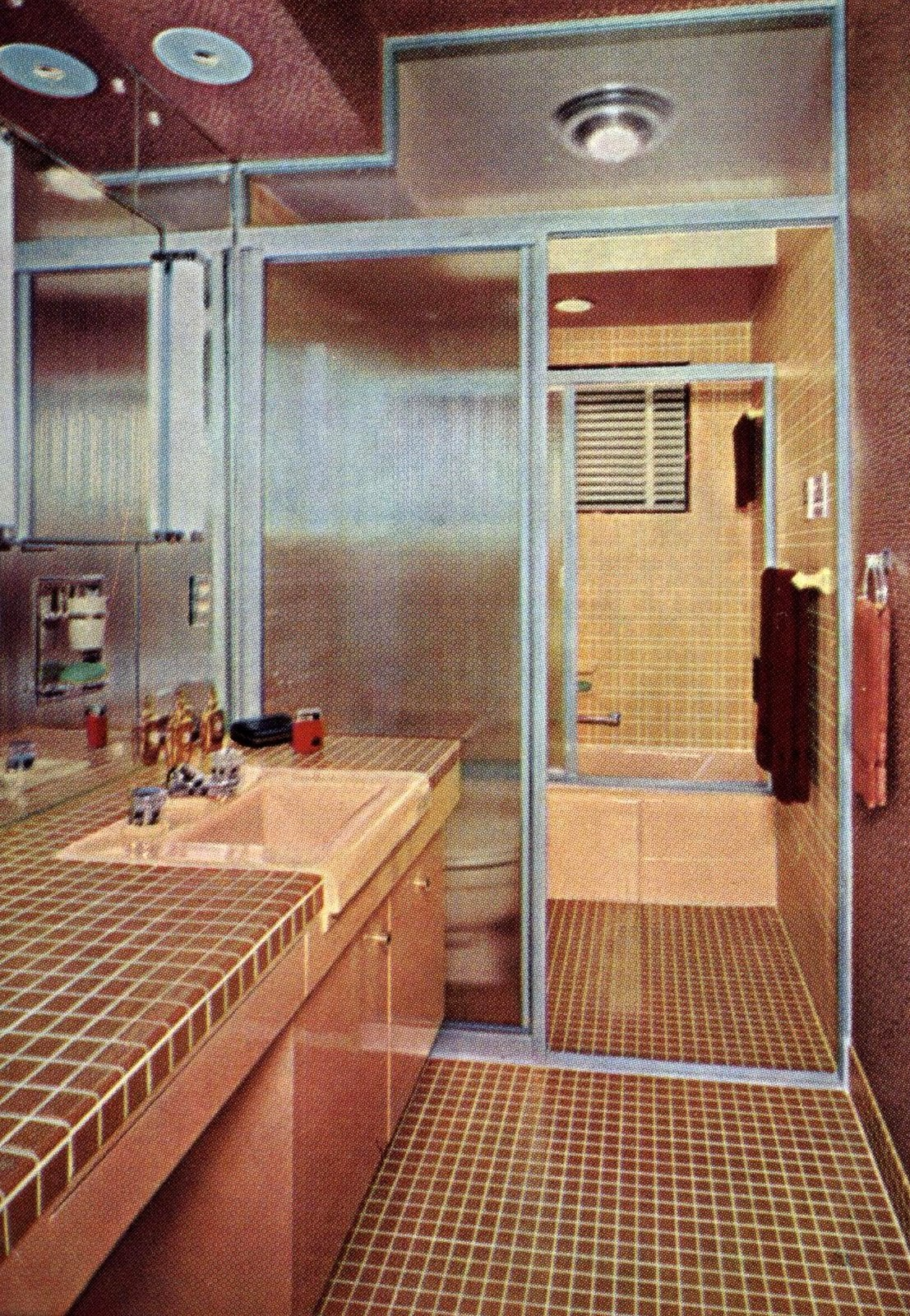 Vintage bathroom decor with brown and beige tile (1954)