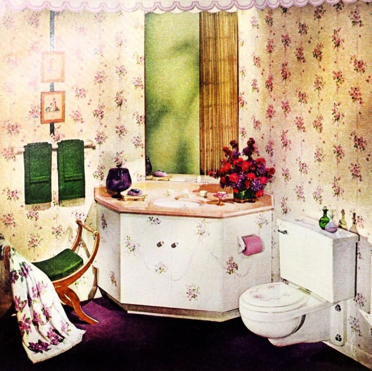 Vintage bathroom decor with painted sink from 1963