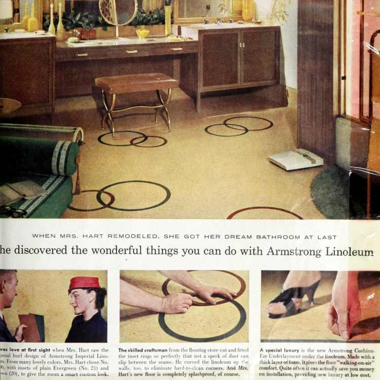 Vintage bathroom flooring from 1958