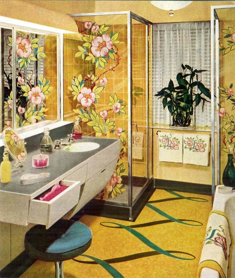 Vintage bathroom flooring patterns from 1950
