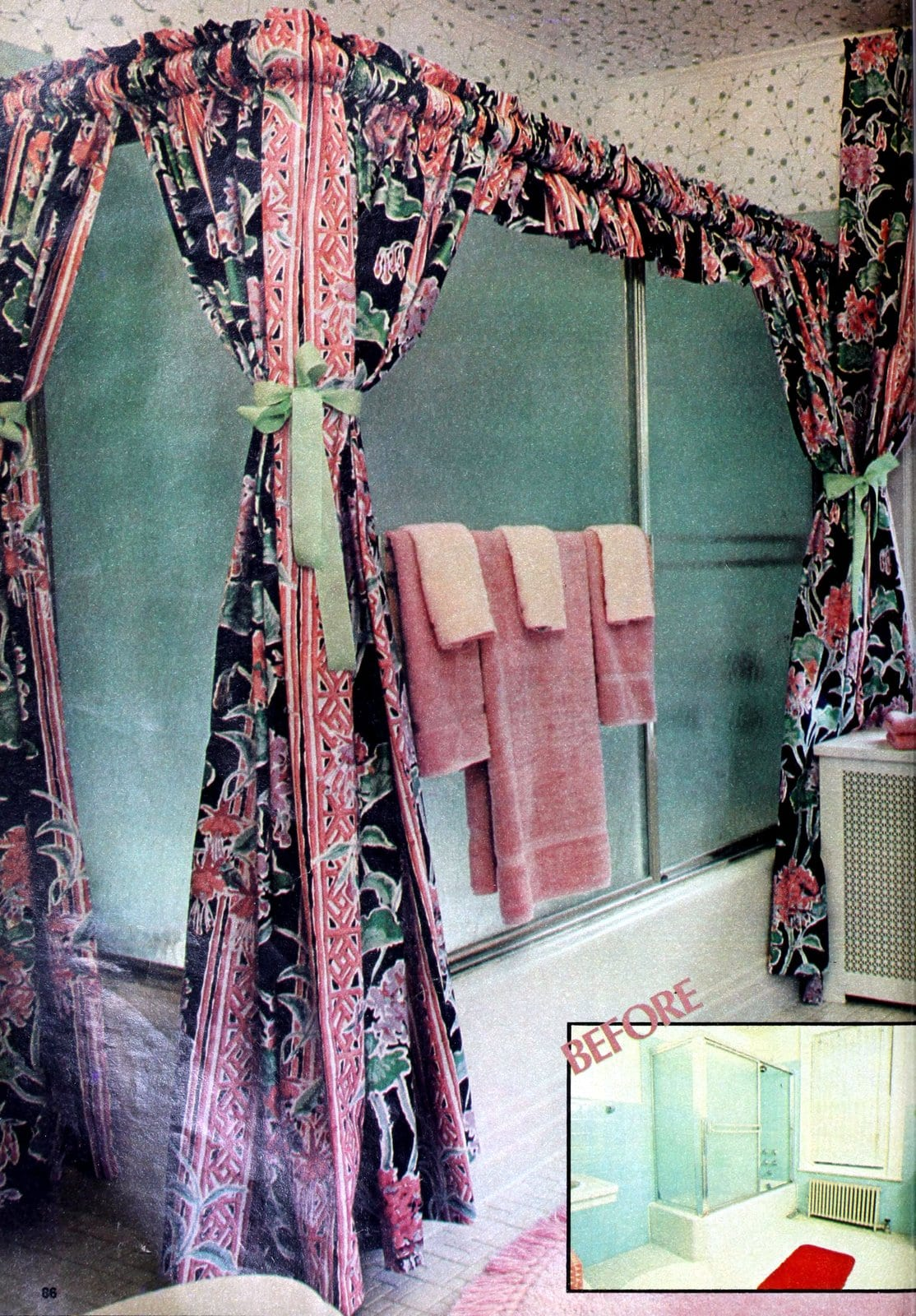 Vintage bathroom remodel with floral shower curtain canopy-style (1981)