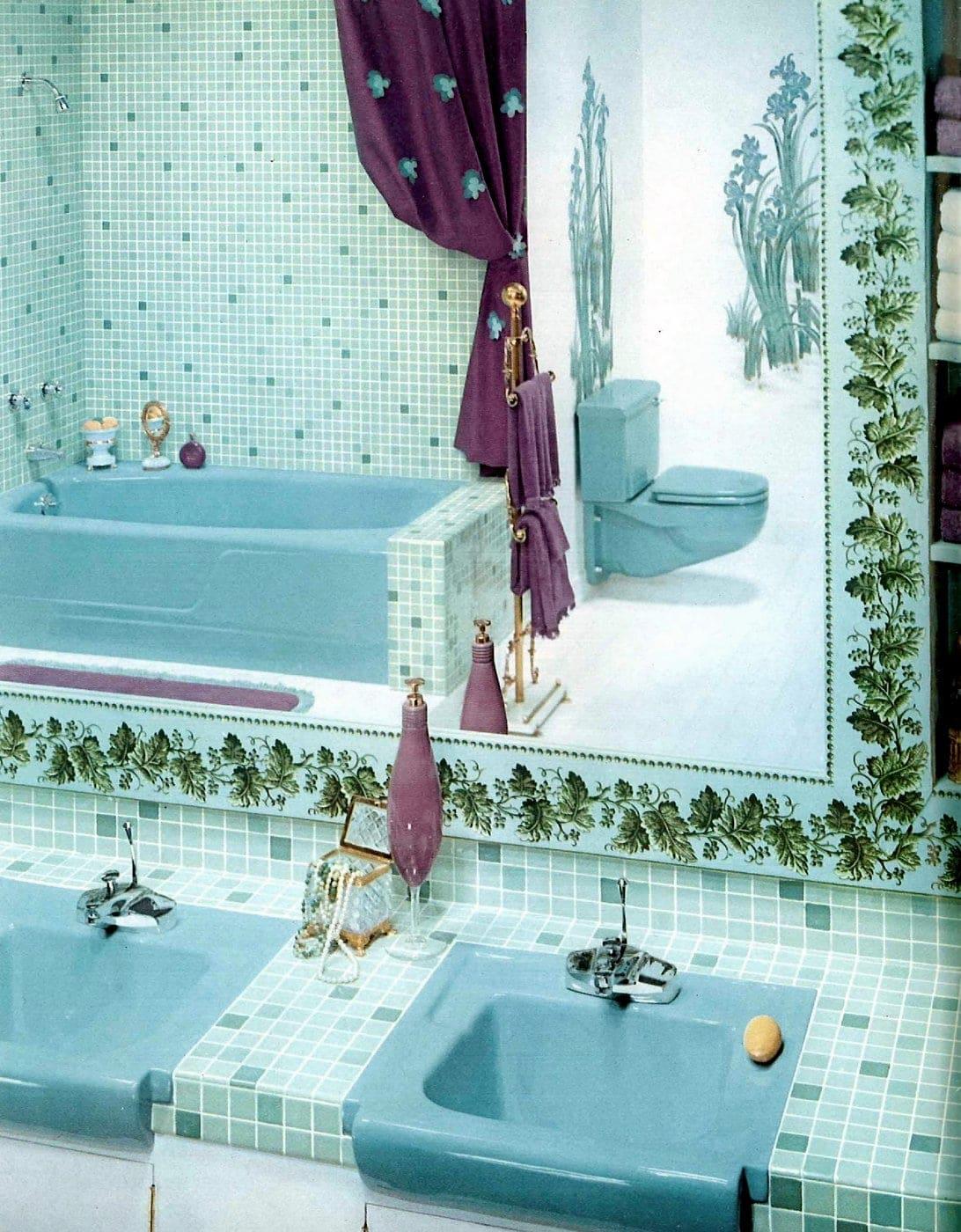 Vintage blue bathroom style ideas from 1962 (7)