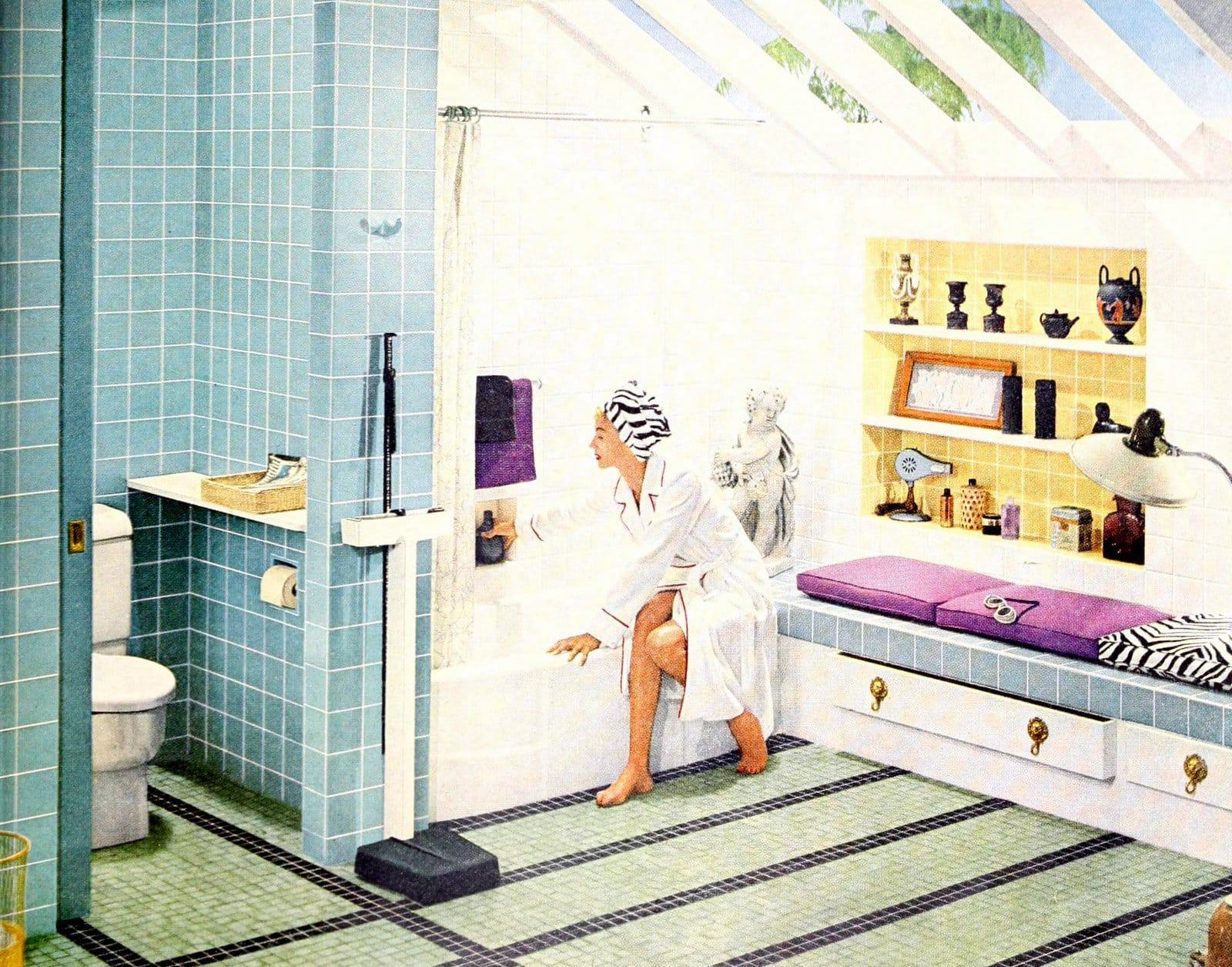 Vintage bathroom tile design ideas from 1955