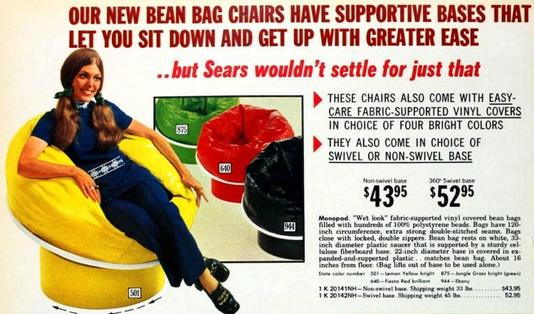 Vintage beanbag chairs with supportive bases (1)