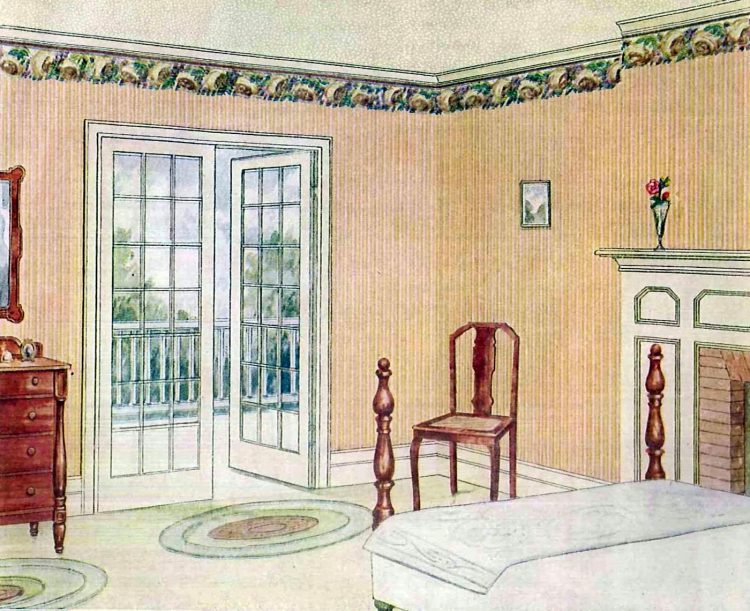 Vintage bedroom decor from 1917