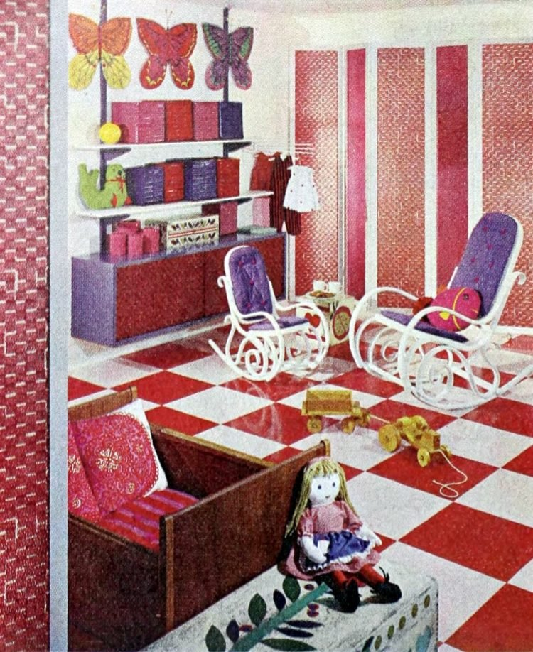 Vintage bedroom decor from 1965 for a shared childrens bedroom