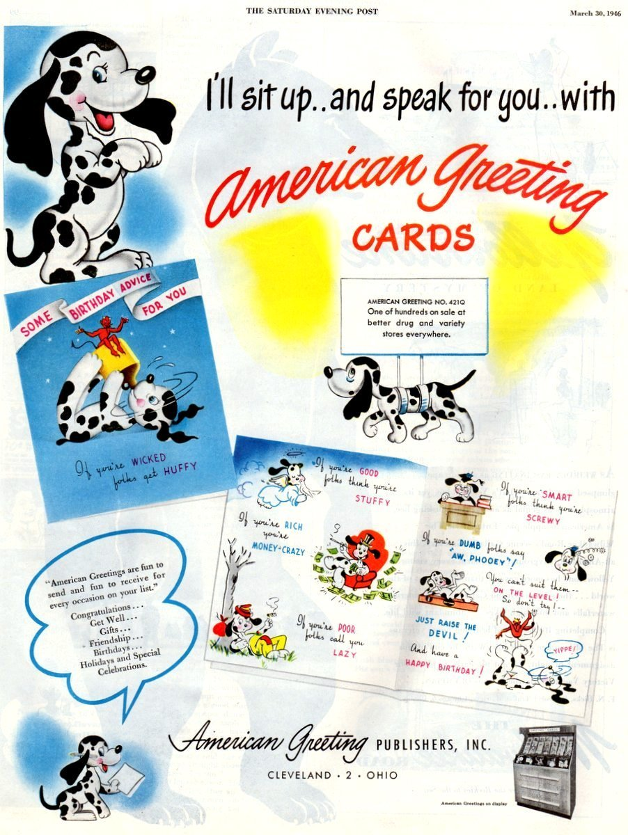 Vintage birthday cards from American Greetings (1946)