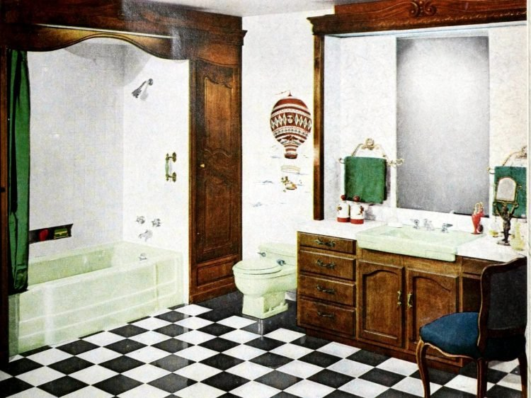 Vintage black and white checkerboard bathroom floor - 1957