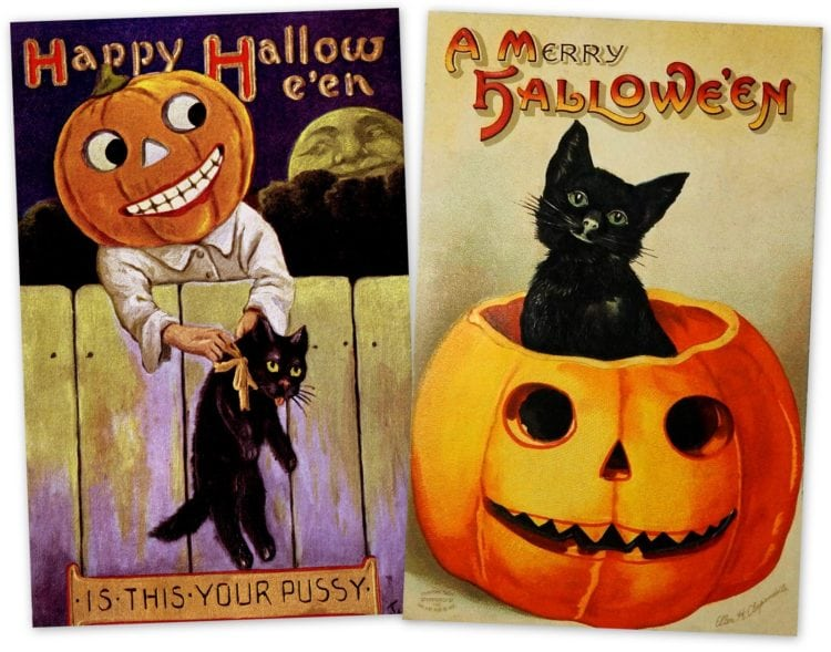 Vintage black cat postcards