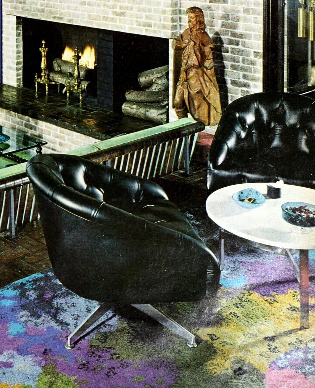 Vintage black vinyl deep-buttoned upholstered living room swivel chairs (1965)