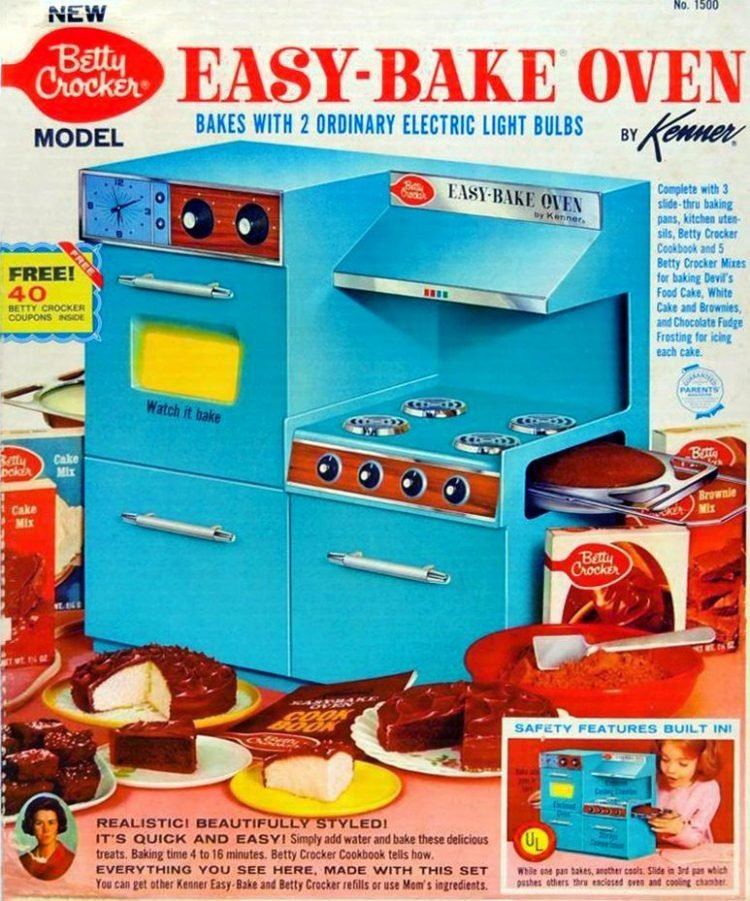 Vintage blue Betty Crocker Easy Bake oven toy - 1960s