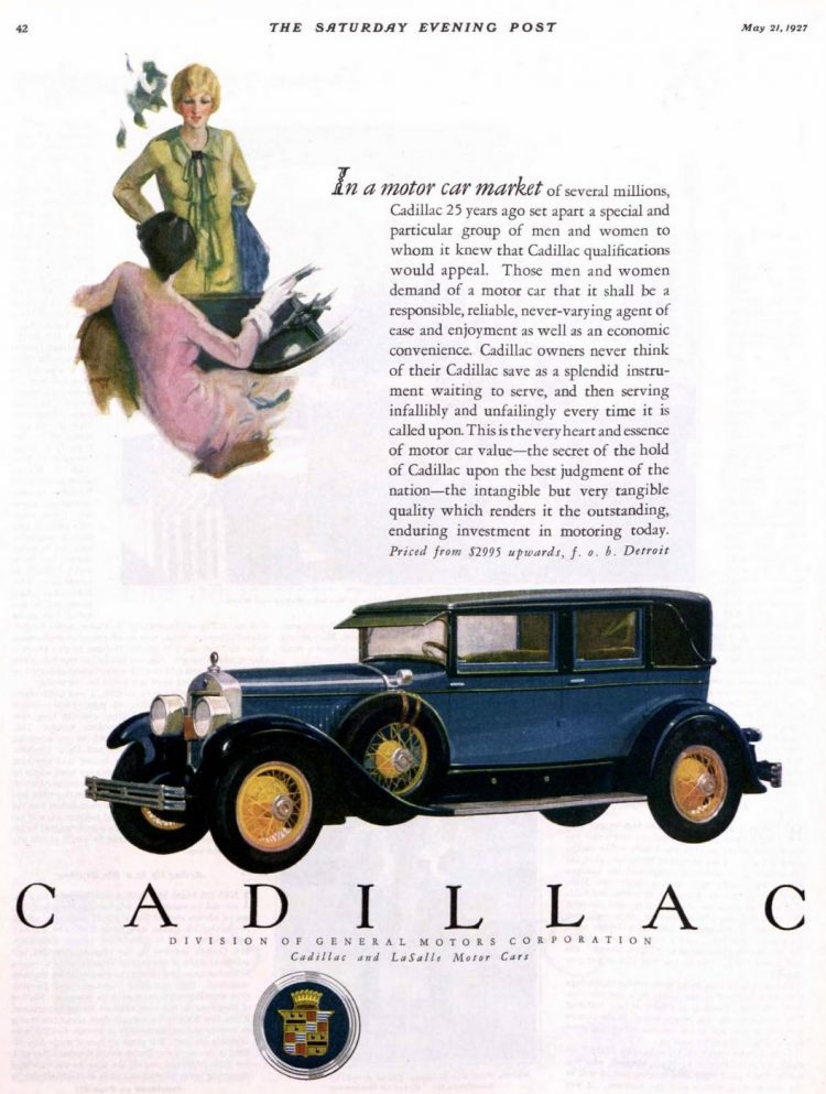 Vintage blue Cadillac car ad from 1927
