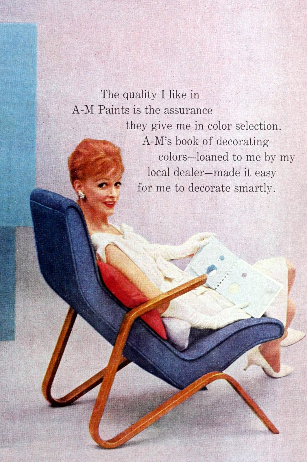 Vintage blue and wood-effect semi-recliner chair (1961)