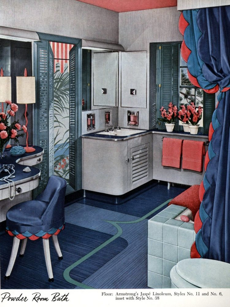 Vintage blue bathroom decor from 1951
