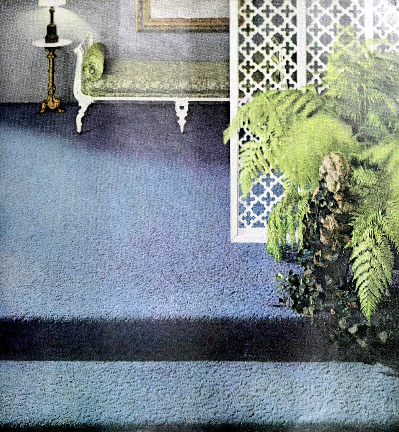 Vintage blue textured carpet on stairs and sitting area (1956)