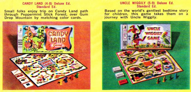 Vintage board games Milton Bradley 1960s - Candy Land Uncle Wiggily