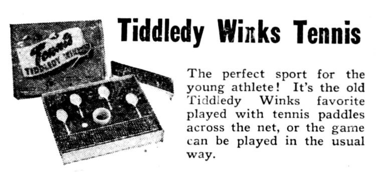 Vintage board games from 1949 - Tiddledy Winks Tennis