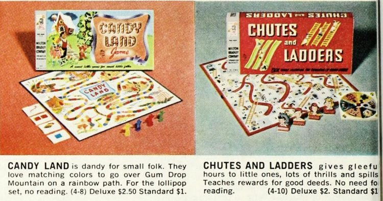 Vintage board games of the 60s - Preschoolers - Candyland - Chutes Ladders