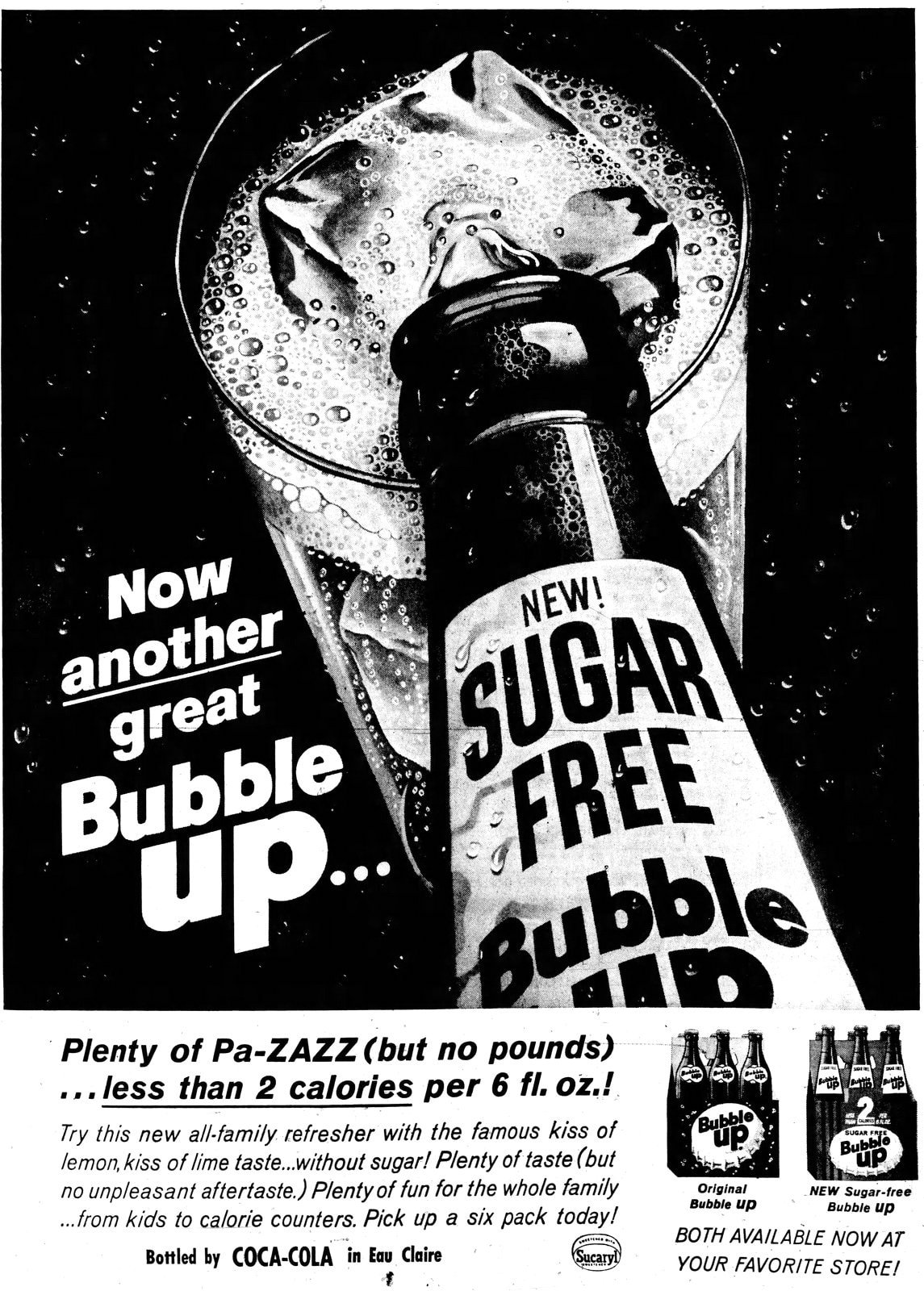 Vintage bottle Sugar Free Bubble Up soda (1963)