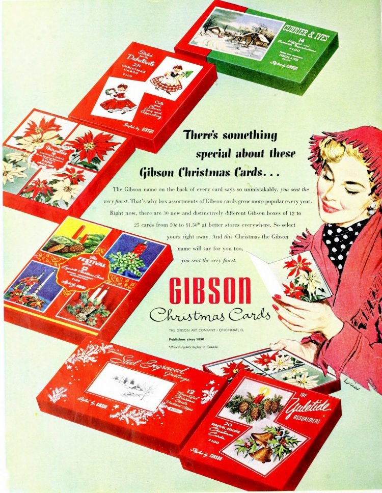 Vintage boxed Chistmas cards from Gibson - 1953