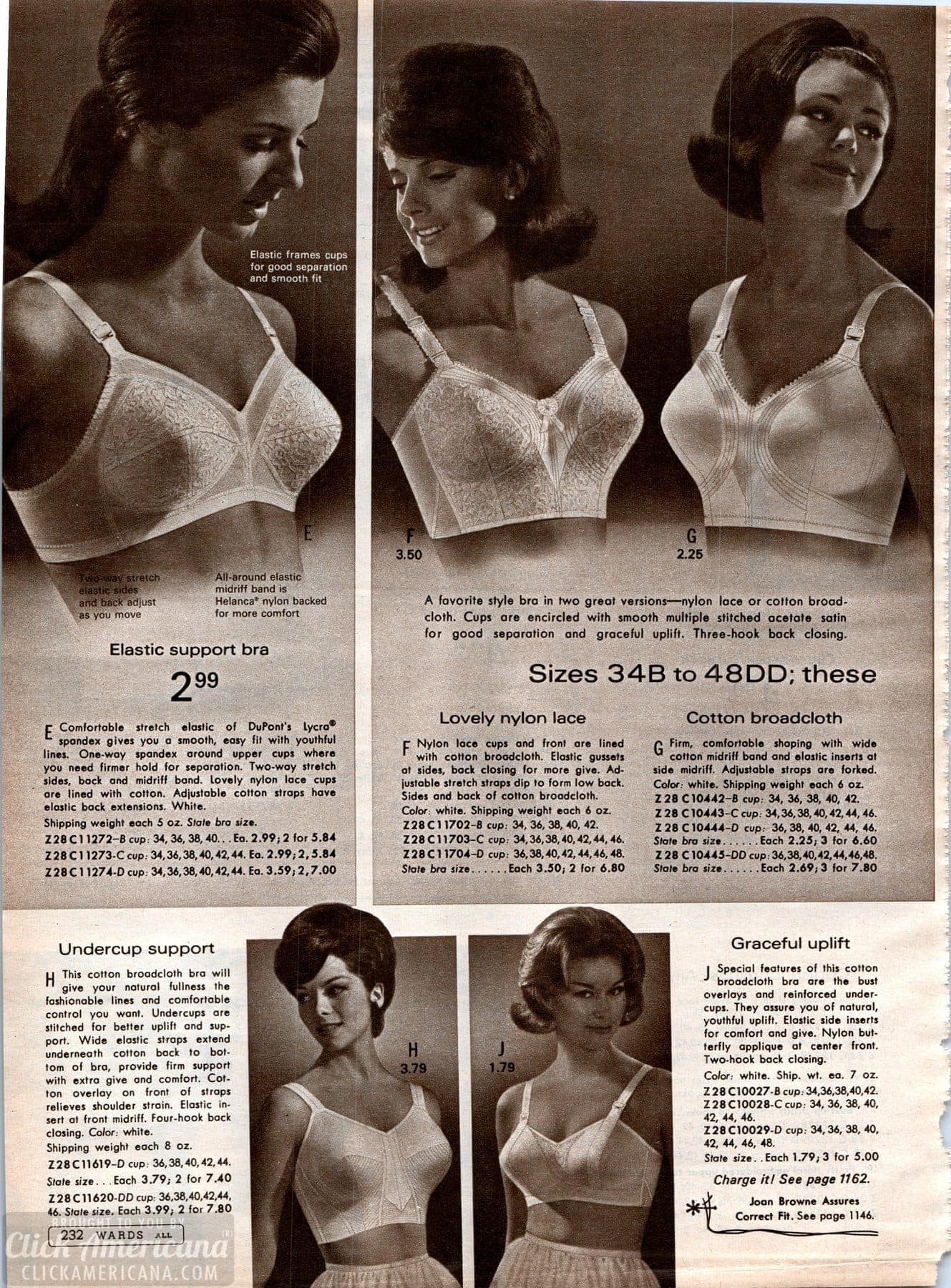 Vintage bra styles from 1968 - Wards catalog