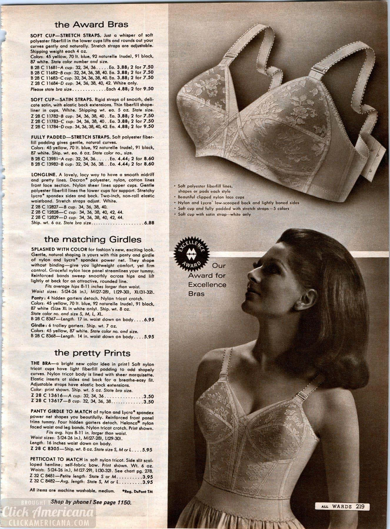 Vintage bra styles from 1968 - Wards catalog
