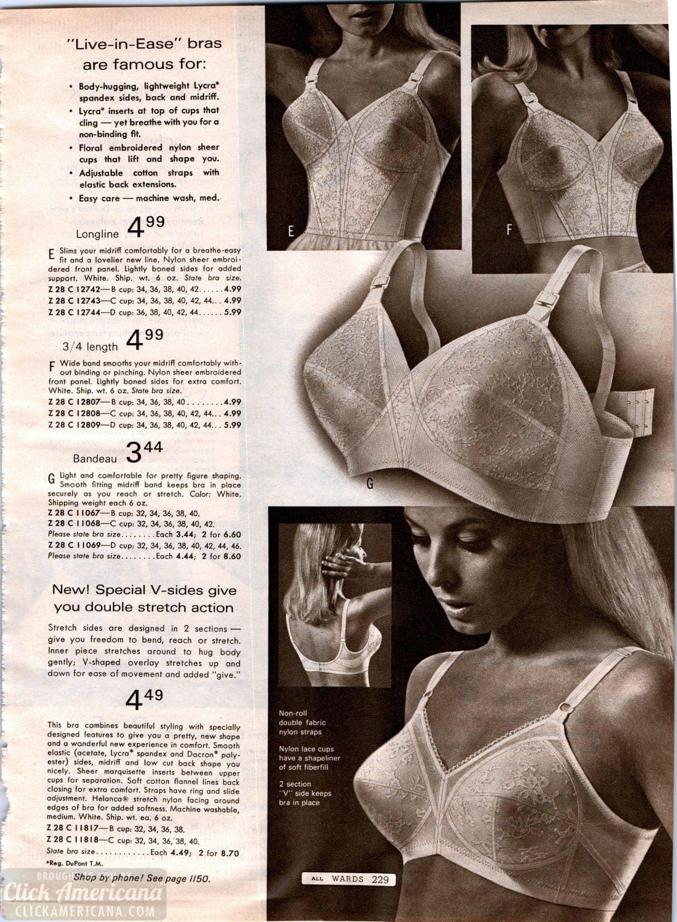 786ec29870e Vintage bra styles from 1968 - Wards catalog - Click Americana