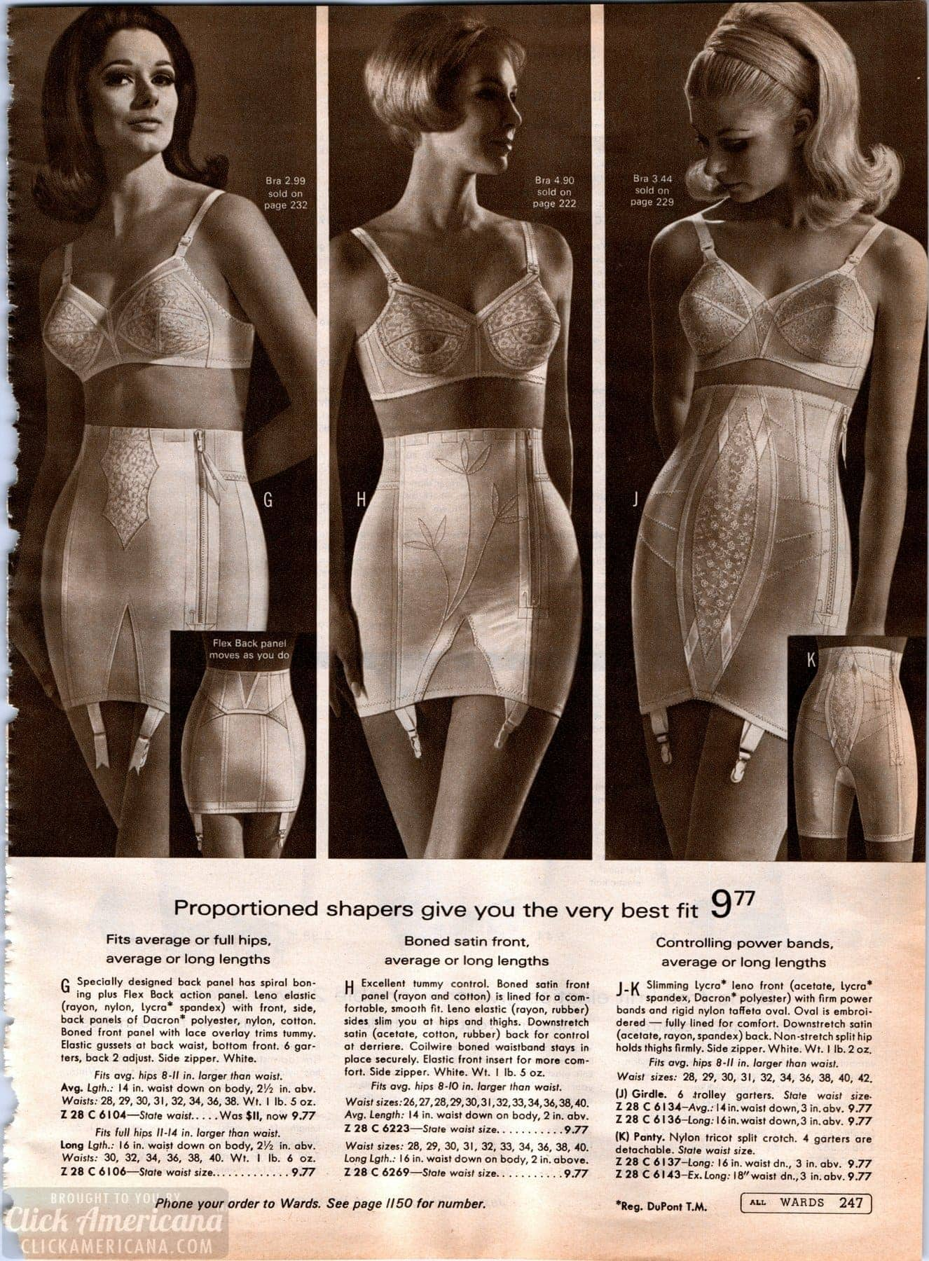 Vintage bras and tummy-control shapers from 1968