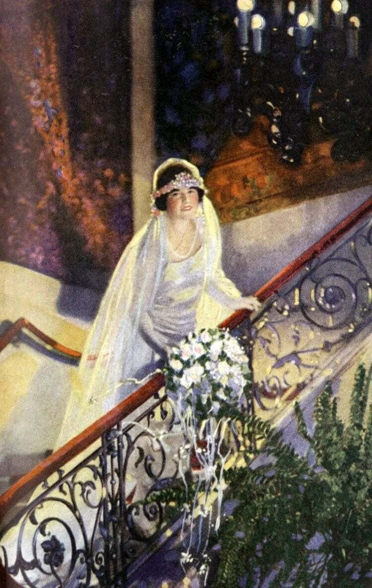 Vintage bride from the 1920s thinking about wedding superstitions