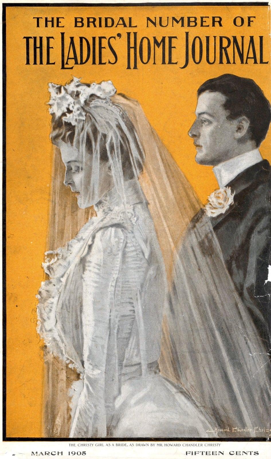 Vintage bride side profile view (1905)