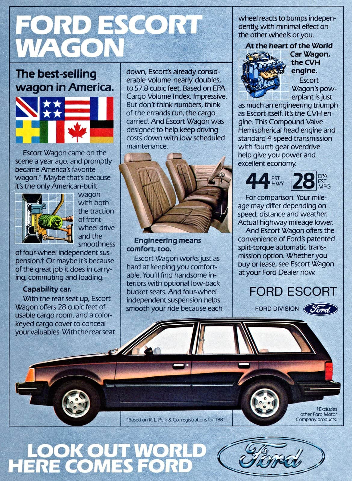 Vintage brown 1982 Ford Escort Wagon ad