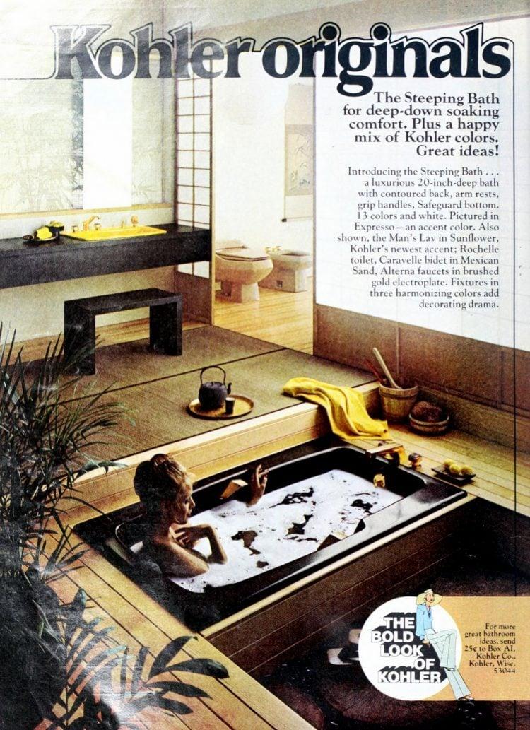 Vintage brown sunken spa bathtub from 1973