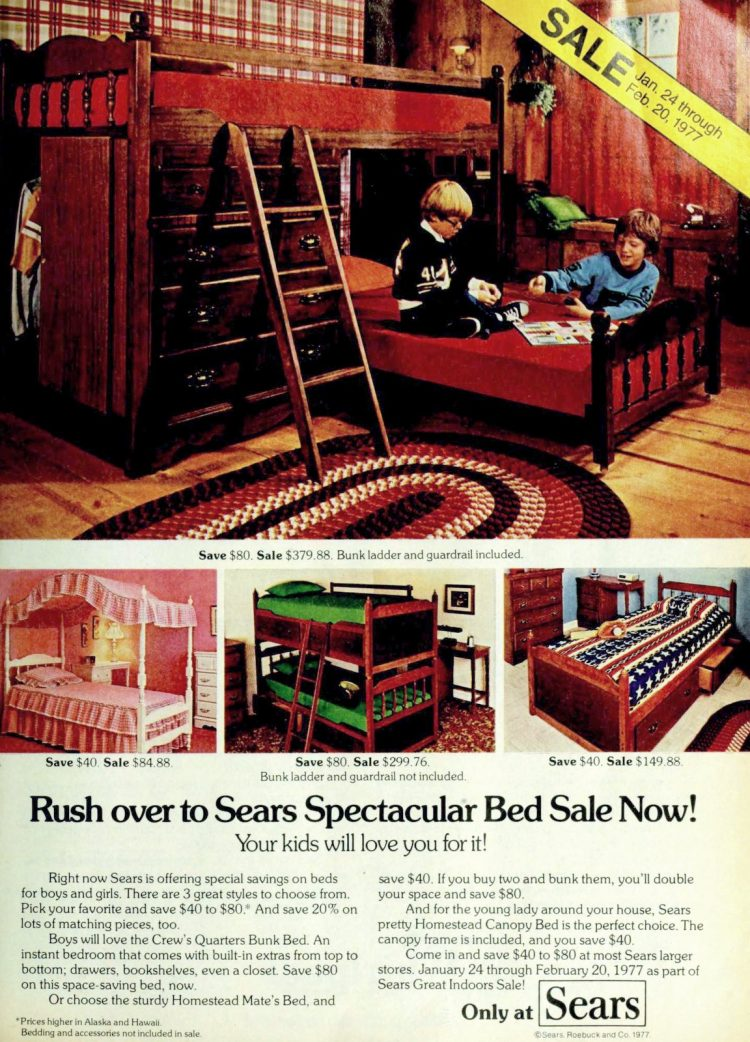 Vintage bunk beds and bedroom furniture (1977)