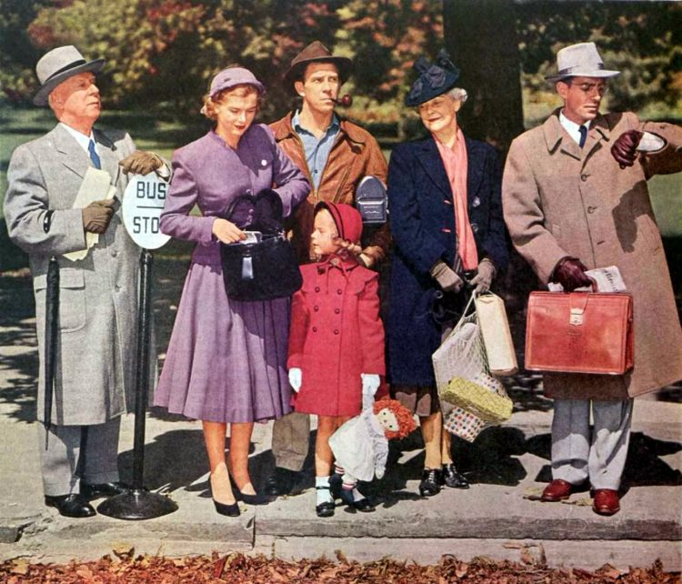 Vintage bus stop people in the 50s