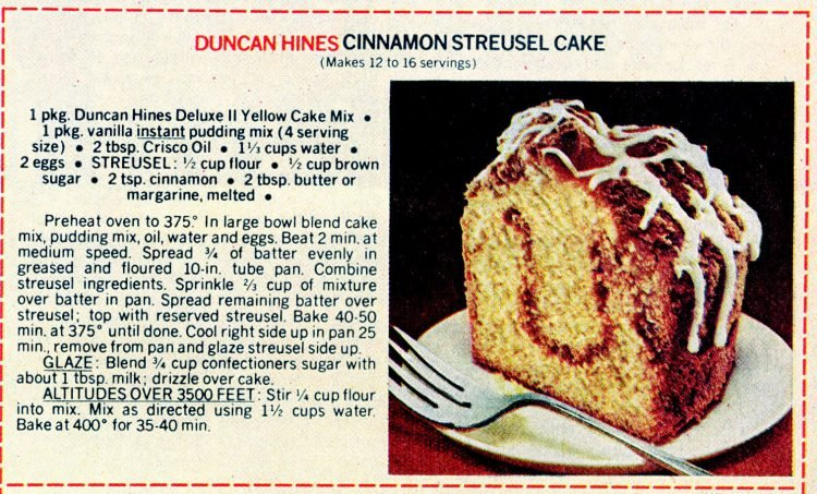 Vintage cake mix recipes from 1978 - Cinnamon streusel cake