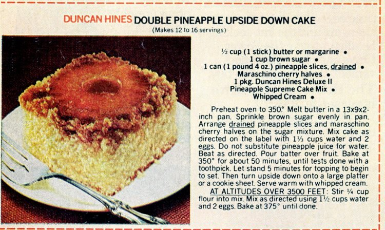 Vintage cake mix recipes from 1978 - Double pineapple upside-down cake