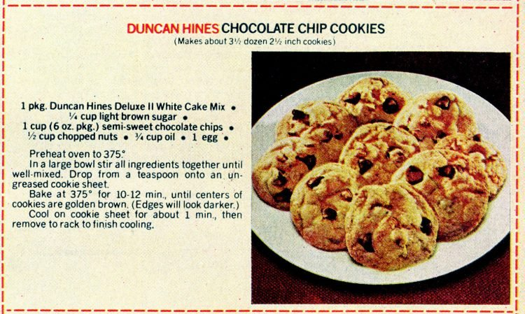 Vintage cake mix recipes from 1978 - Duncan Hines chocolate chip cookies